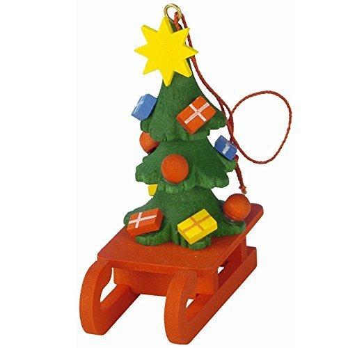 """10-0436 – Christian Ulbricht Ornament – Christmas Tree on Sled – 2″""""H x 1″""""W x 2.5″""""D by Alexander Taron Inc."""