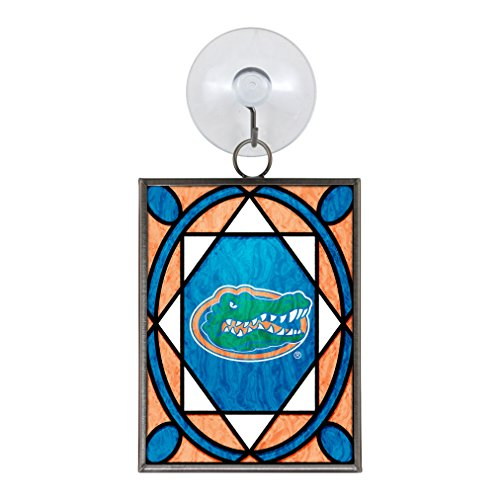 NCAA Florida Gators Stained Glass Ornament,3.75-inches,Silver