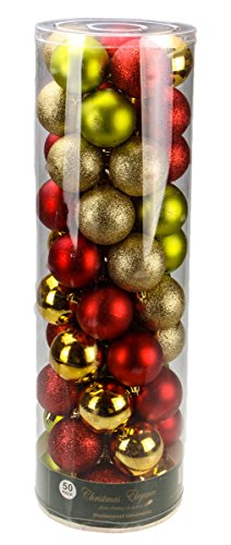 Red, Green, and Gold Decorative Christmas 60mm Shatterproof Orbs and Ornaments – 50 Pack