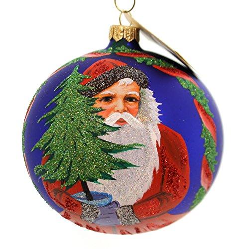 Christina's World BLUE CANDLELIGHT SANTA Glass Ornament Santa Vintage Gif541