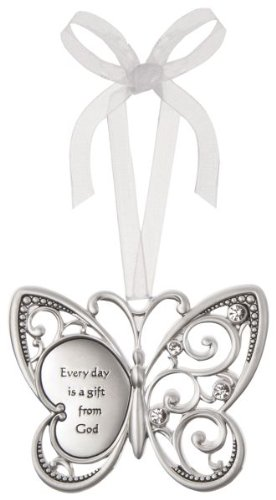 Everyday is a Gift From God Butterfly Silver & Crystal Filigree Ornament