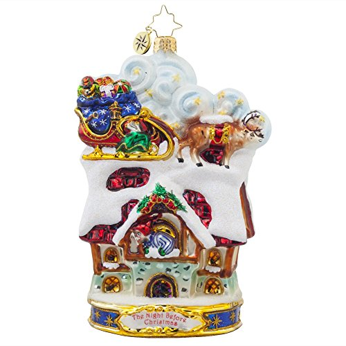Christopher Radko Twas the Night Before Christmas Collection – Up to the House-top Glass Christmas Ornament – 6″h.