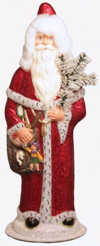 Ino Schaller Large Red Santa with Toys German Paper Mache Candy Container