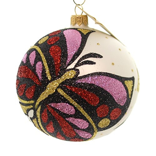 Christina's World BLACK/RED BUTTERFLY Glass Ornament Ball Glittered But719