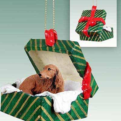Dachshund Green Gift Box Dog Ornament – Longhair – Red