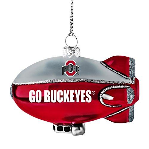 NCAA Ohio State Buckeyes Glitter Blimp Ornament, Silver, 3″ x 2.25″