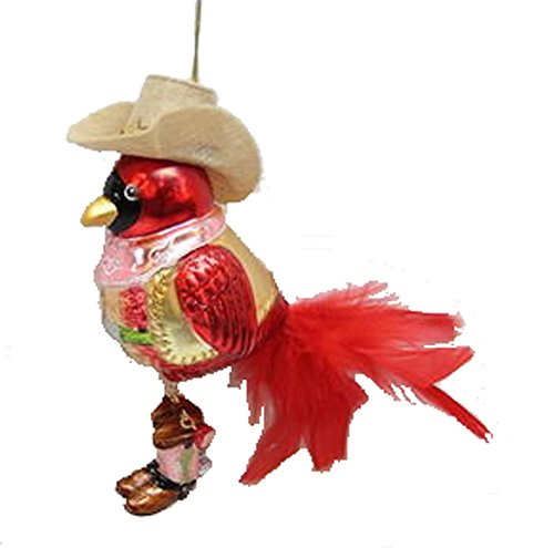 December Diamonds Blown Glass Ornament – Western Red Cardinal with Cowboy Hat