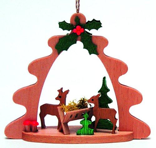 Feeding Deer German Wood Christmas Tree Ornament