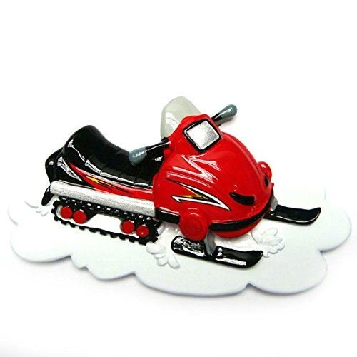 Snowmobile Snow Skiing Sled Personalized Christmas Tree Ornament