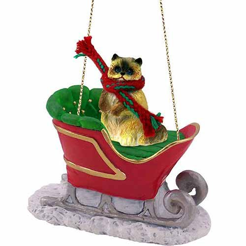 Ragdoll Cat Sleigh Ride Christmas Ornament – DELIGHTFUL!
