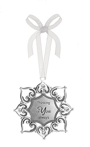 "3"" Silver Tone Heart/Snowflake Ornament with Crystal Accents (""Thinking of You Always"")"