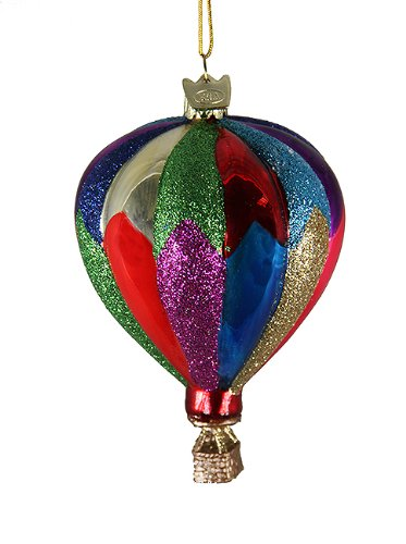 4″ Noble Gems Striped Hot Air Balloon Mouth Blown Glass Christmas Ornament