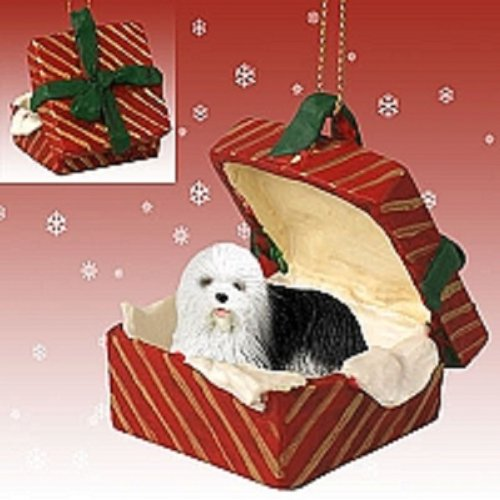 Conversation Concepts Old English Sheepdog Gift Box Red Ornament