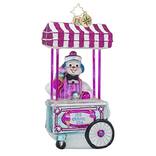 Christopher Radko Gelato For All Snowman Ice Cream Themed Glass Christmas Ornament – 5.5″h.