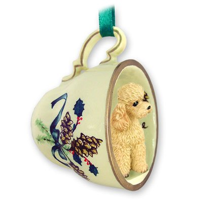 Poodle Apricot W/sport Cut Tea Cup Green Holiday Ornament