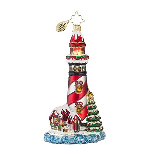 Christopher Radko Festive Beacon Lighthouse Glass Christmas Ornament – 5″ H.