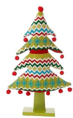 19″ Merry & Bright Plush Knit Snowflake and Chevron Christmas Tree Table Top Decoration
