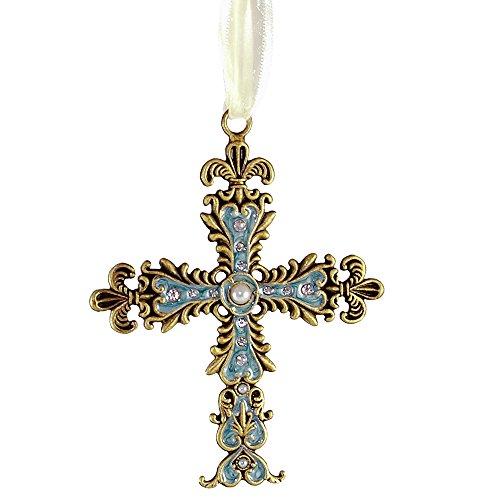 Fleur De Lis Design Pewter Cross Ornament in Blue with Gemstones and Ribbon Loop