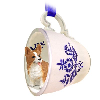 Welsh Corgi Pembroke Tea Cup Blue Ornament