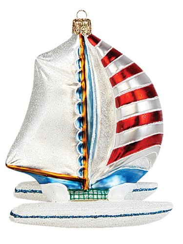 Catamaran Boat Polish Mouth Blown Glass Christmas Ornament Sailboat Decoration