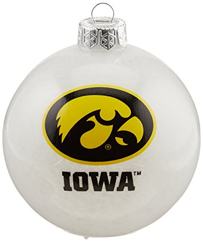 NCAA Iowa Hawkeyes LED Color Changing Ball Ornament, 2.625″, White