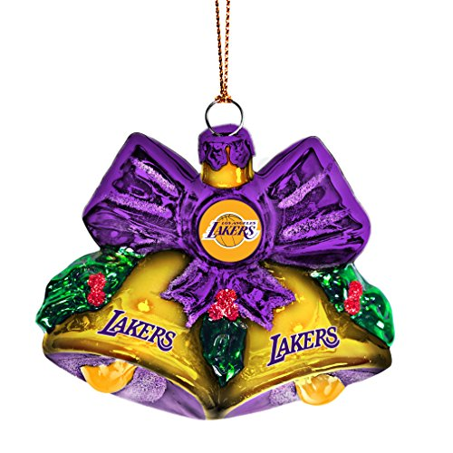 NBA Los Angeles Lakers Glitter Bells Ornament, Green, 3″ x 3″