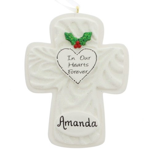 In Our Hearts Forever: Personalized Cross Ornament – FREE Personalization