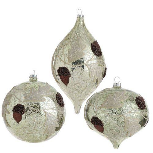 RAZ Imports – Antiqued Acorn and Leaf Glass Ornaments