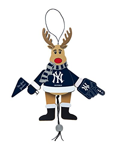 MLB New York Yankees Wooden Cheer Ornament, Brown, 5.25″