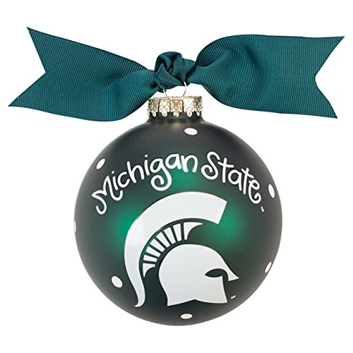 Coton Colors Michigan State Logo Glass Ornament