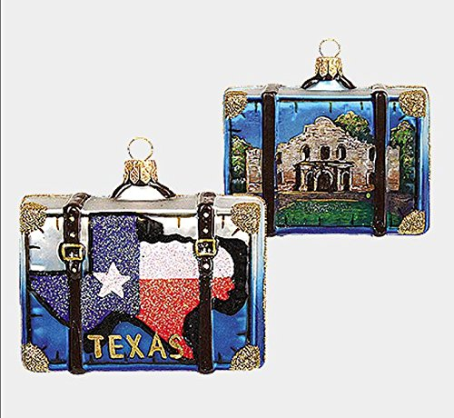Texas and Alamo Travel Suitcase Polish Glass Christmas Ornament Decoration