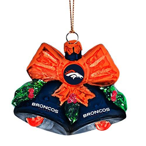 NFL Denver Broncos Glitter Bells Ornament, Green, 3″ x 3″