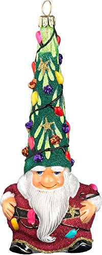 Glitterazzi Gnome Santa Hit The Lights Ornament by Joy to the World