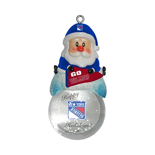 NHL New York Rangers Snow Globe Ornament, Silver, 1.5″