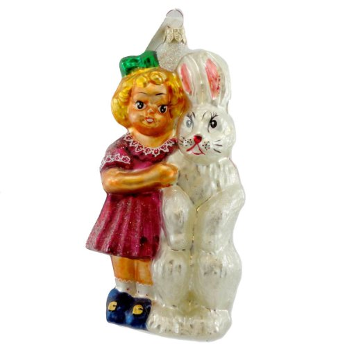 Christopher Radko BRIGHT EYE AND BUSHY TAIL Glass Ornament Bunny Easter Rabbit