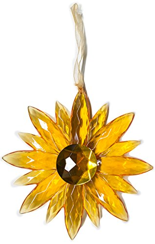 Crystal Expressions Acrylic 5 Inch Small Jewel Flower Ornament Suncatcher (Orange)