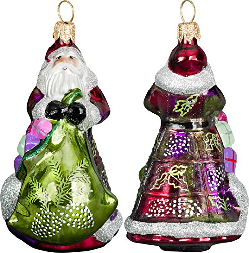 Glitterazzi Mini Vintage Green and Purple Santa Ornament by Joy to the World