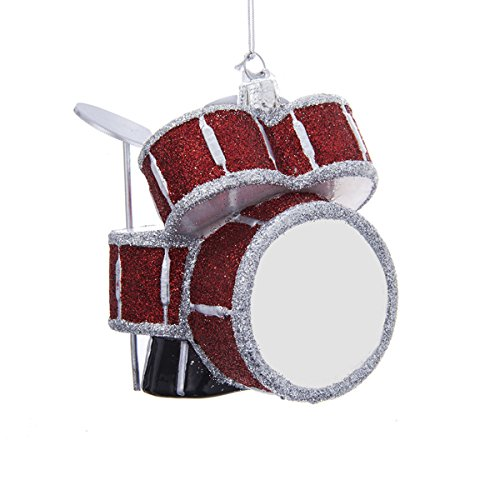 Kurt Adler 3.75″ Noble Gems Glass Drum Set Ornament