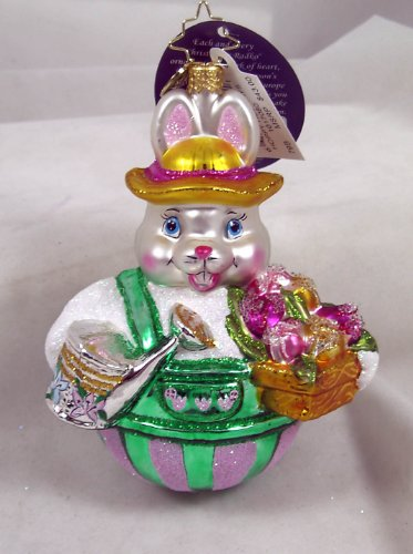 RADKO HOPPY HOLIDAYS Spring Easter Bunny with Flowers Glass Ornament