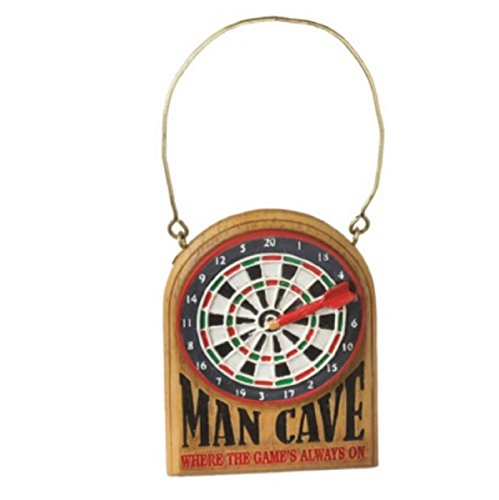 "3.25″ Dart Board ""Man Cave Where the Game's Always On"" Christmas Ornament"