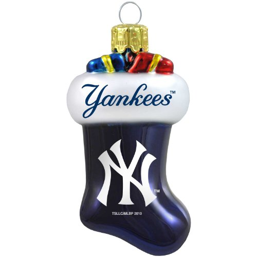MLB New York Yankees Blown Glass Stocking Ornament