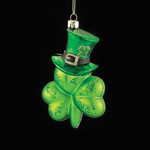 Kurt Adler 5.125″ Noble Gems Glass Shamrock W/hat Ornament