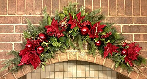 Christmas Swag Red Poinsettia Large