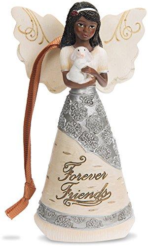 Pavilion Gift Company 82385 Forever Friends Ebony Angel Figurine/Ornament, 4-1/2″