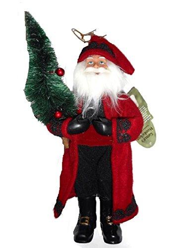Santa's Workshop Red and Black Folk Santa Ornament Figurine 9″