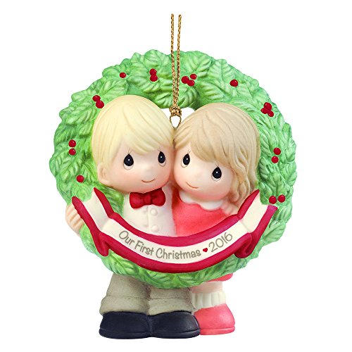 Precious Moments Christmas Gift, Our First Christmas Together 2016, Porcelain Bisque Ornament, 161004