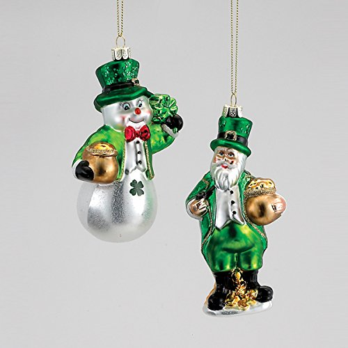 Kurt Adler 5″ -5.5″ Glass Irish Santa Or Snowman Ornament, Assorted