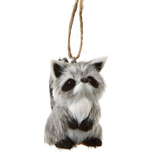 3.5″ Furry Forest Friends Gray and Black Raccoon Wildlife Christmas Ornament