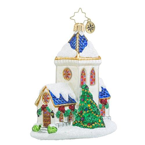 Christopher Radko Blessed Tiding Church Glass Christmas Ornament – 4.5″h.