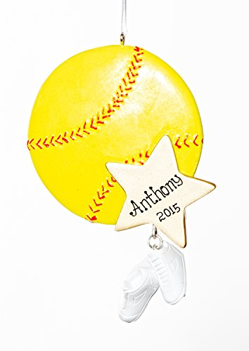 Personalized Christmas Ornament -Softball – Free Names Added, Shipped Next Day